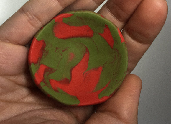 Red & Olive Marbled Trinket Dish (XS)