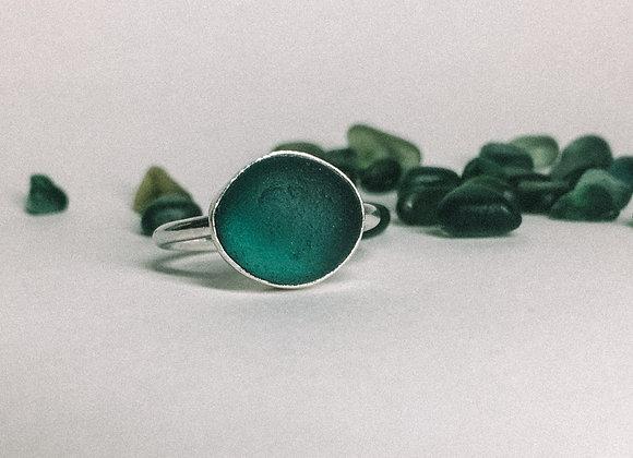 Teal Seaglass Ring - Size P (UK)