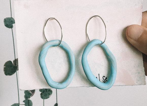 Wild and Colourful Tide Hoops (Blue & Translucent White)