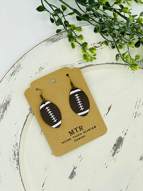 UNIQUE LEATHER FOOTBALL EARRINGS
