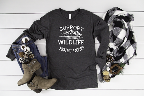 Support Wildlife Raise Boys Long Sleeve Tee