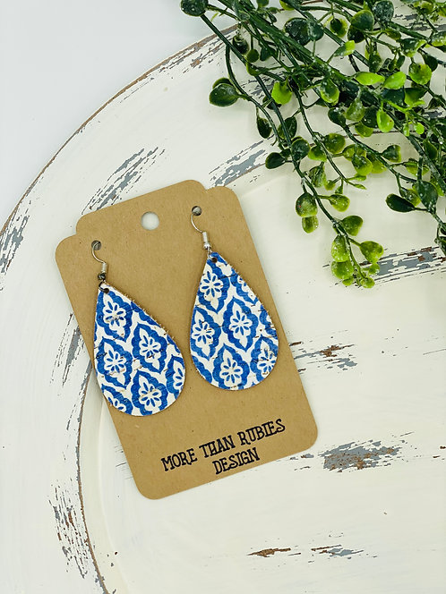 UNIQUE PORTUGUESE CORK EARRINGS BLUE & WHITE TEARDROP