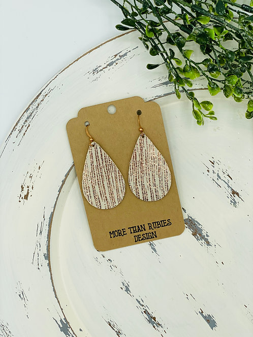 UNIQUE TEXTURE GOLD LEATHER EARRINGS