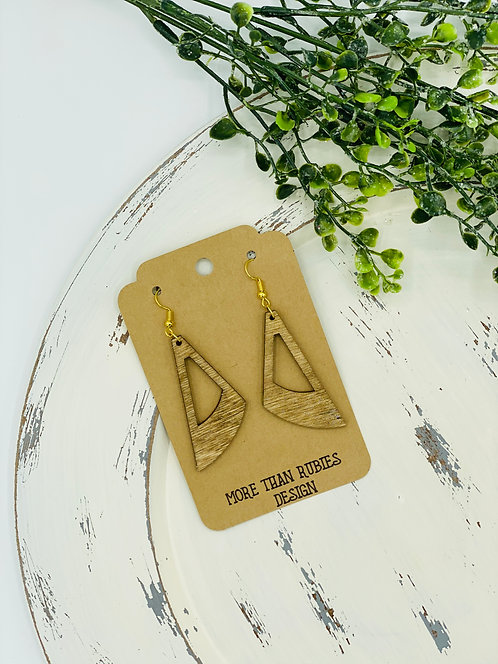 LASER CUT WOODEN EARRINGS HOLLOW TAPERED