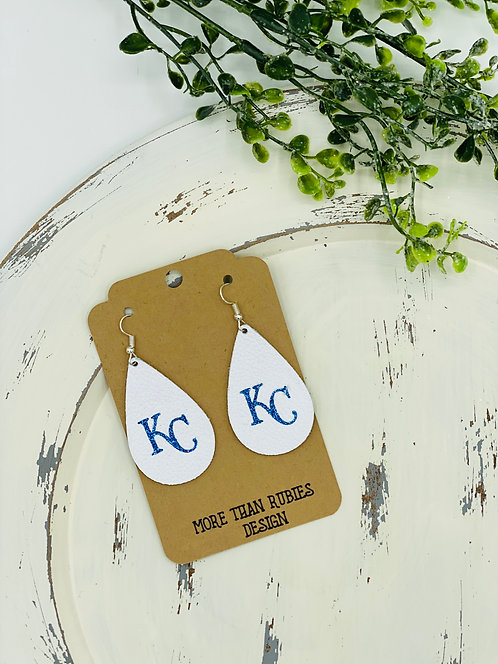 UNIQUE LEATHER KC ROYALS TEARDROP EARRINGS