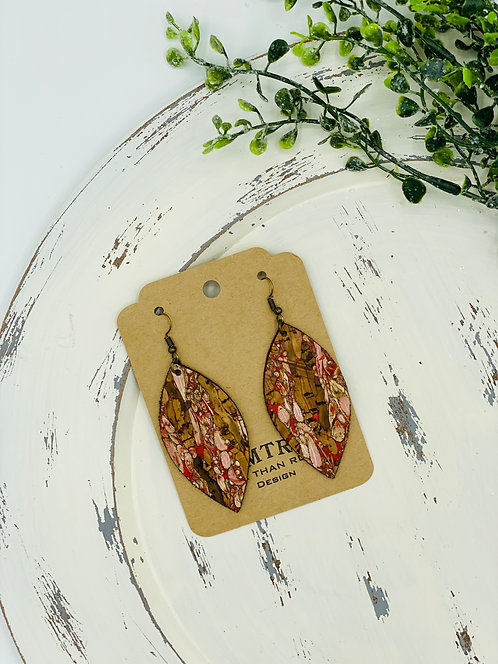 UNIQUE PORTUGUESE CORK EARRINGS FENNEL RED LEAF