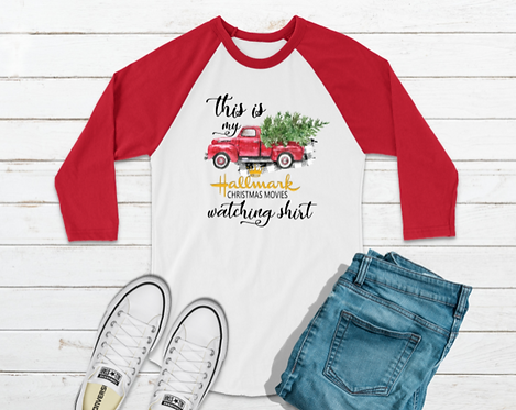This Is My Hallmark Christmas Movie Watching Raglan Baseball Tee (Gildan Cotton)
