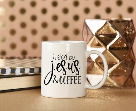 "CHRISTIAN COFFEE MUGS ""FUELED BY JESUS & COFFEE"""