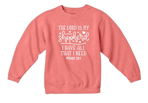 "KID'S CHRISTIAN SWEATSHIRT ""THE LORD IS MY SHEPHERD"""