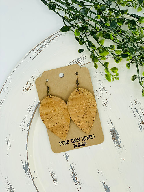 UNIQUE PORTUGUESE CORK EARRINGS NATURAL LEAF