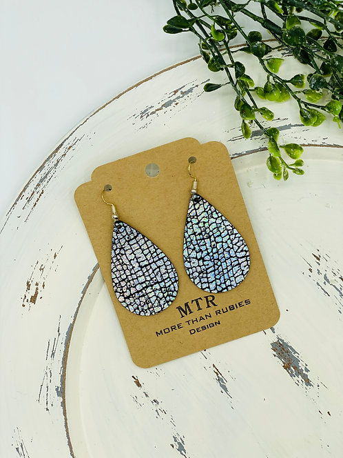 UNIQUE CRACKLE BLACK & SILVER LEATHER EARRINGS