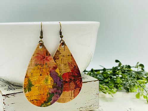 UNIQUE PORTUGUESE CORK EARRINGS LARGE BOTANICAL TEARDROP