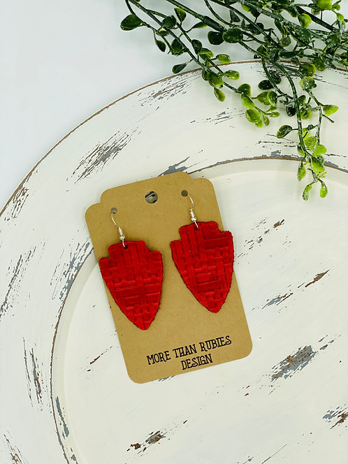 UNIQUE RED LEATHER CHIEFS ARROW HEAD EARRINGS