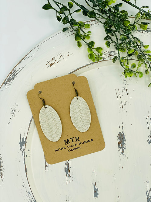UNIQUE BRAIDED LEATHER TAN OVAL EARRINGS