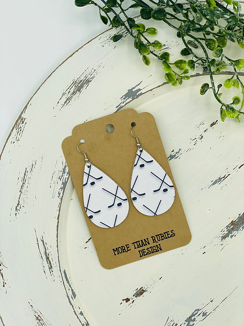 UNIQUE WHITE HOCKEY LEATHER EARRINGS