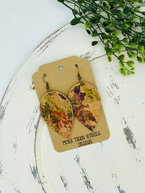 UNIQUE PORTUGUESE CORK EARRINGS BOTANICAL LEAF