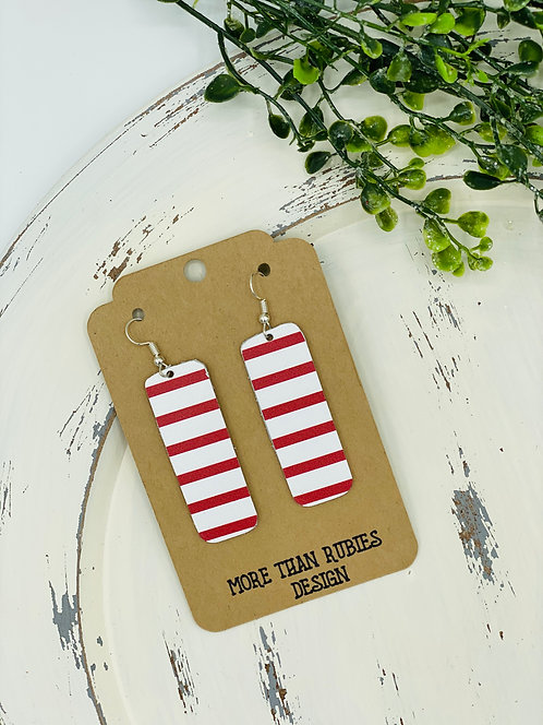 UNIQUE LEATHER CANDY STRIPE EARRINGS
