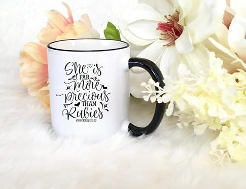 "CHRISTIAN COFFEE MUGS ""MORE THAN RUBIES"""