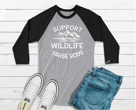 Support Wildlife Raise Boys Raglan