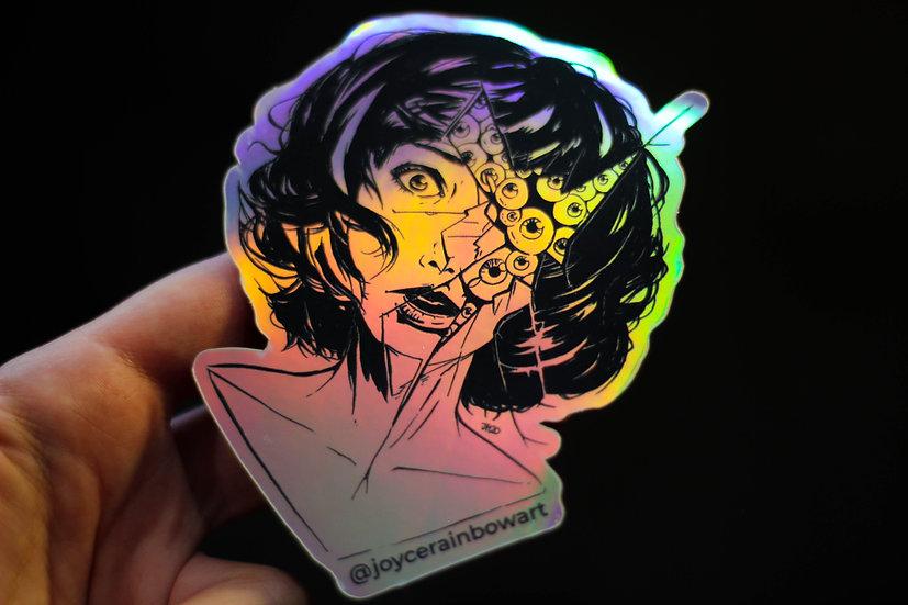 Anxious Holographic Rainbow Sticker