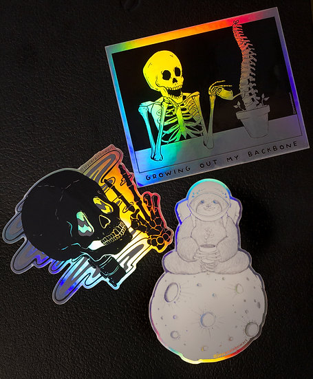 Pack of 3 Holographic Rainbow Stickers