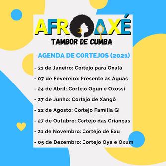 Agenda de Cortejos AfroAxé Tambor de Cumba 2021