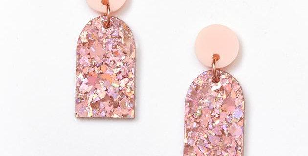 Arc Earrings - Pink