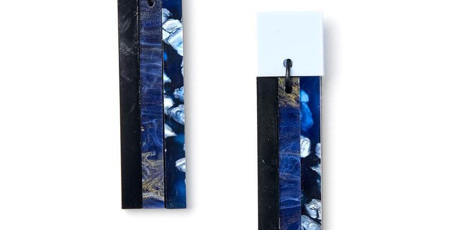 Stripe Earrings - Blue