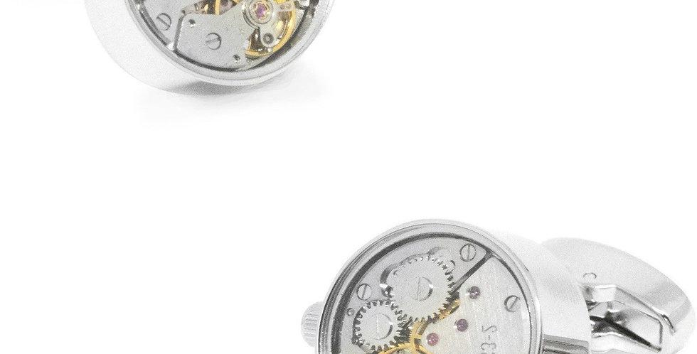 Watch Movement Cufflinks - Silver