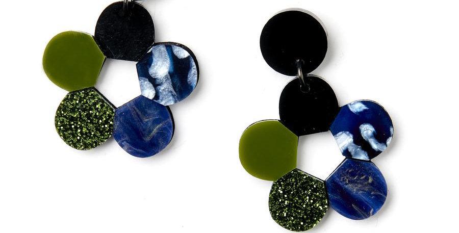 Lulu Earrings - Blue / Olive