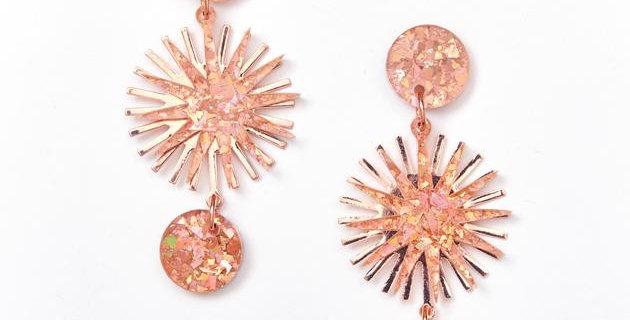 Star Burst Earrings - Pink / Rose Gold
