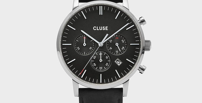 Cluse Mens Aravis Chronograph Silver Black/Black Leather Watch