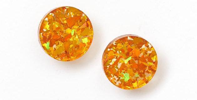 Circle Stud Earrings - Amber