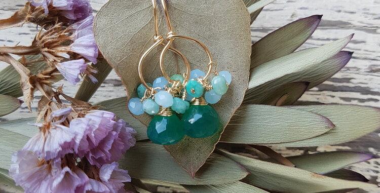 Green Onyx + Chalcedony Earrings