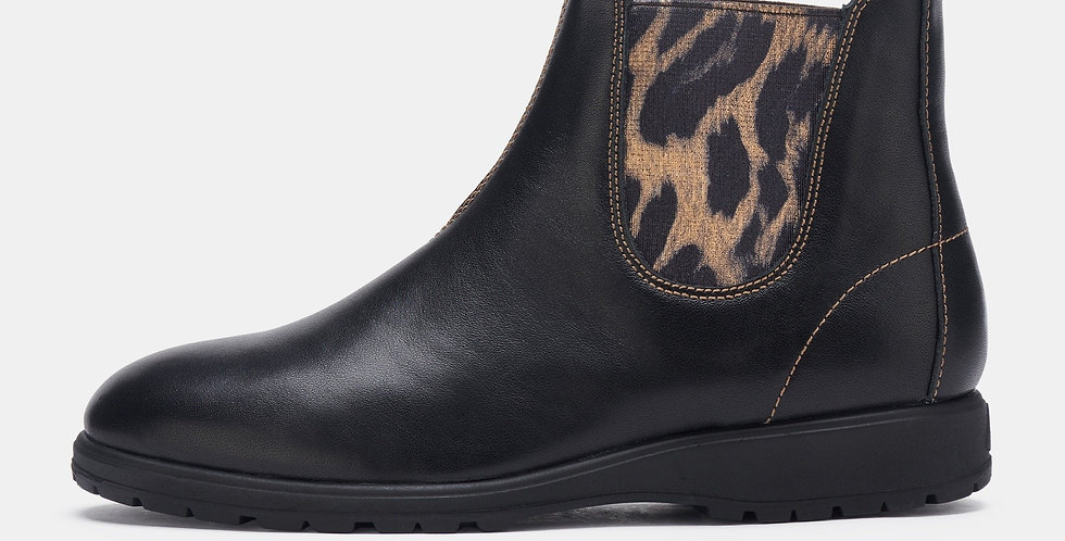 Fields Chelsea Black/Gold Leopard