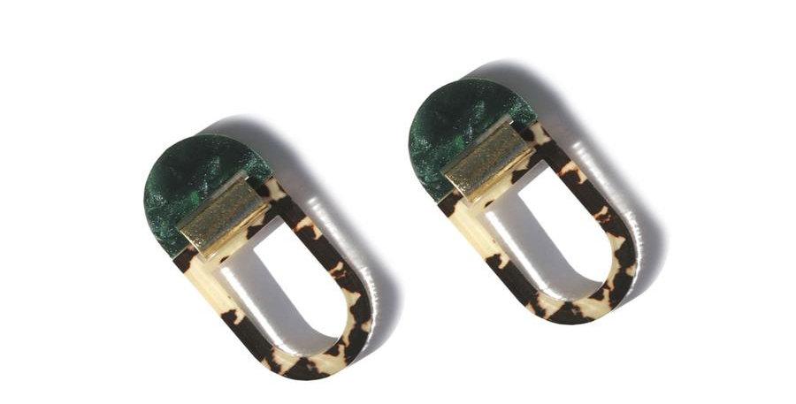 U Hoop Earrings - Emerald Leopard