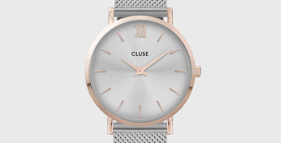 Cluse Minuit Mesh Rose Gold/ Silver  Watch