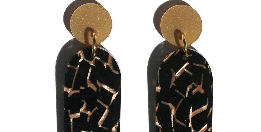 Arc Earrings - Tiger Black