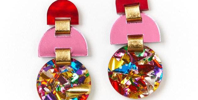 Half Moon Earrings - Rainbow Glitter