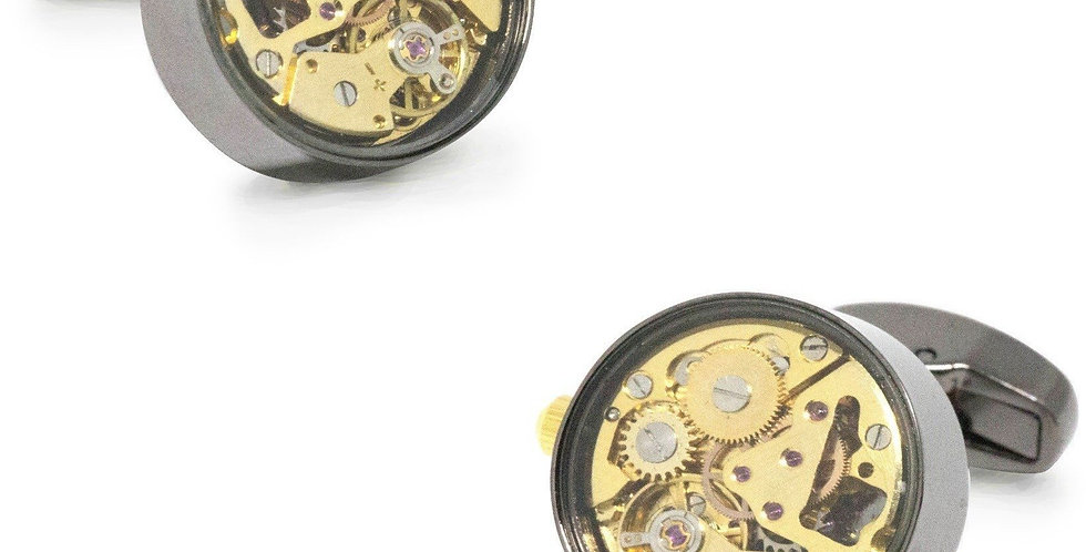 Watch Movement Cufflinks - Gunmetal & Gold