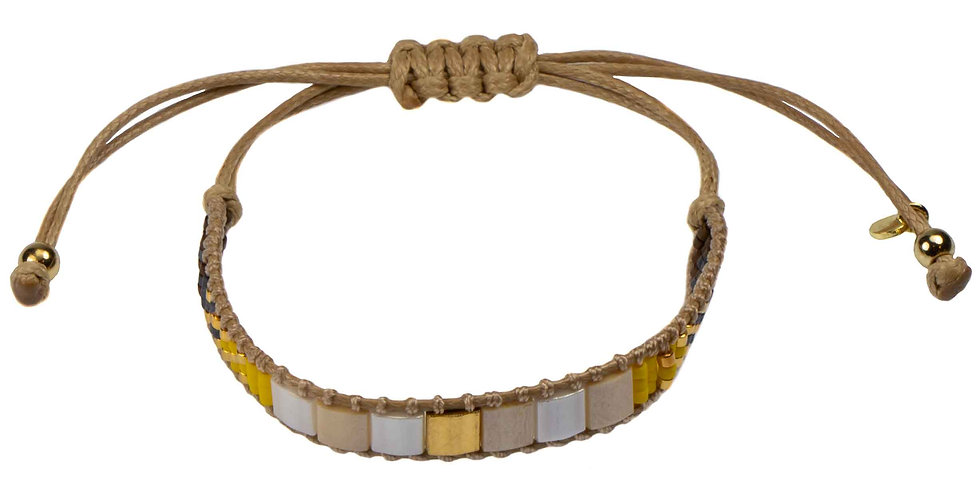 Miyuki Beads Tan Cord Bracelet