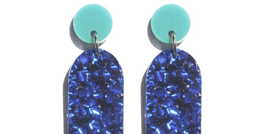 Arc Earrings - Teal / Navy