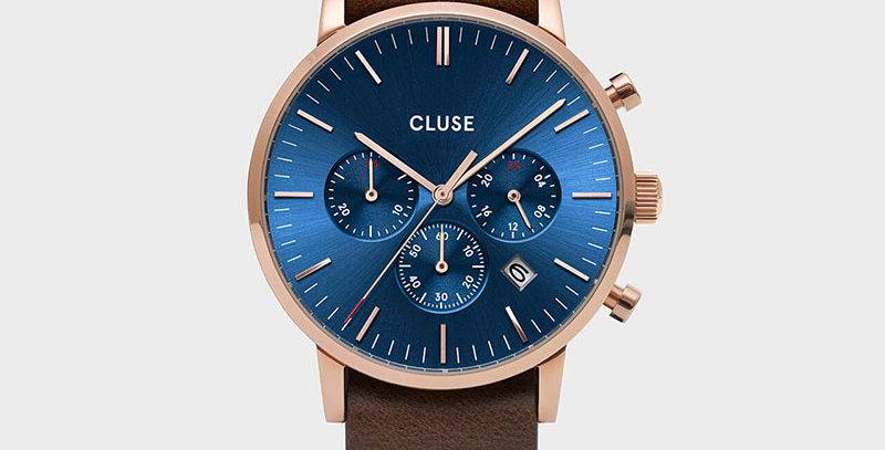 Cluse Mens Aravis Chronograph Rose Gold Dark Blue/Brown Nato Watch