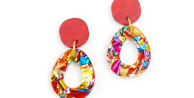 Tempest Earrings - Rainbow Glitter