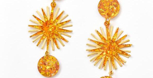 Star Burst Earrings - Amber Gold