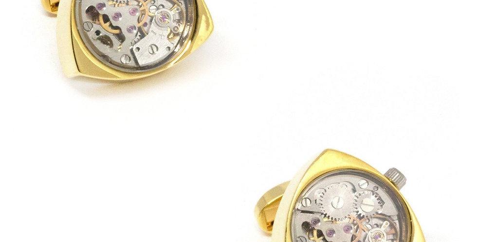 Watch Movement Reuleaux Cufflinks - Gold