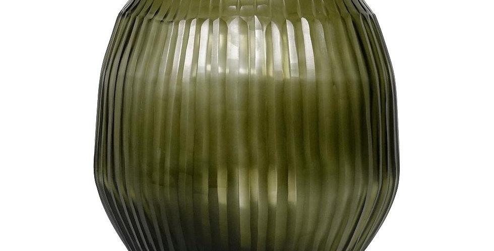 Cut Glass Vase - Olive