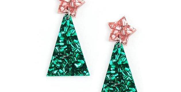 Christmas Tree Earrings - Pink/Green