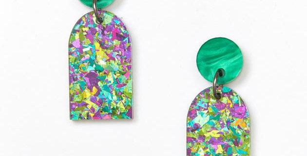 Arc Earrings - Green / Peacock