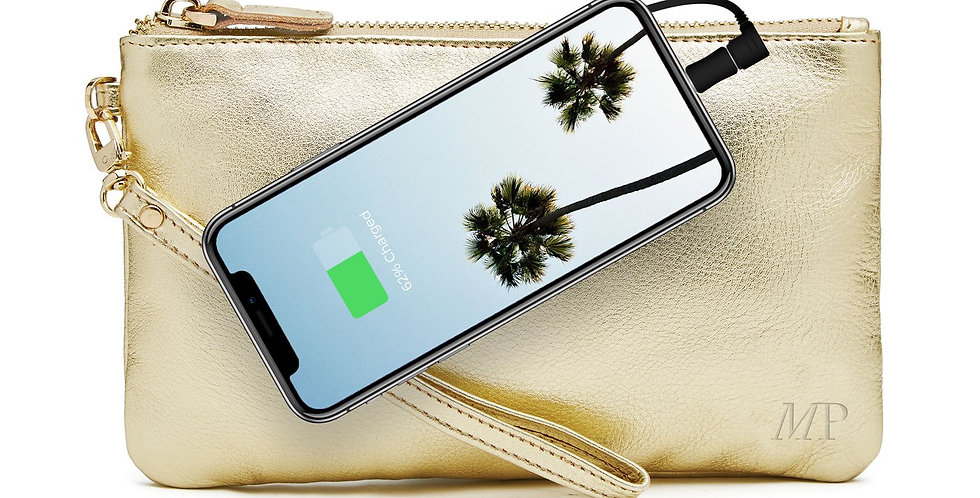 Phone Charging Clutch - Gold